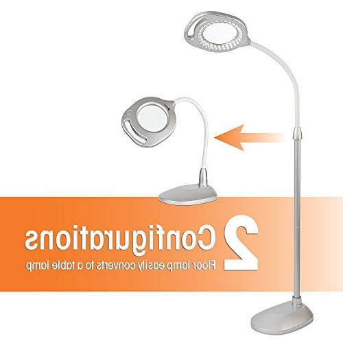 OttLite Magnifier Light and Table Lamps, Silver