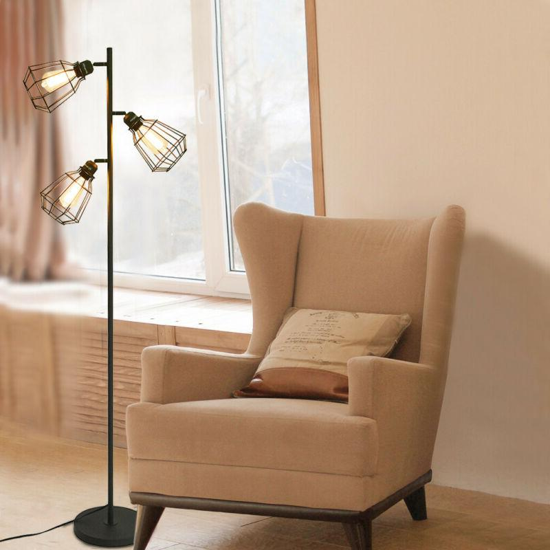Mid Century Modern Floor Lamp 3-Light Aged