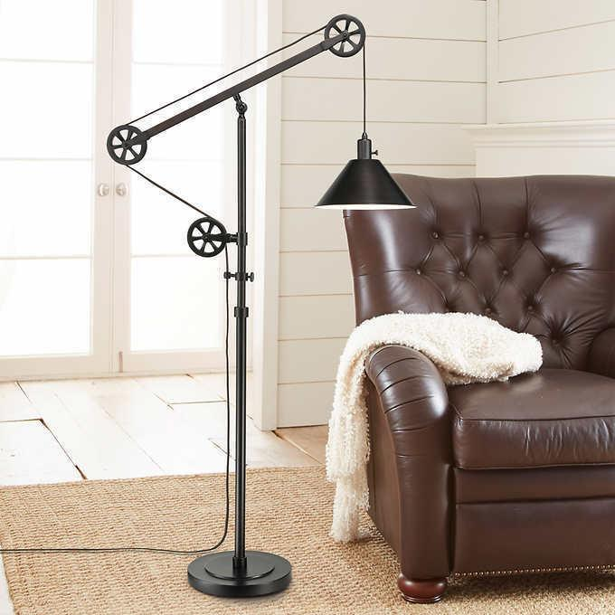"72"" Pulley Floor Bronze Bulb Adjustable Arm and Steel"
