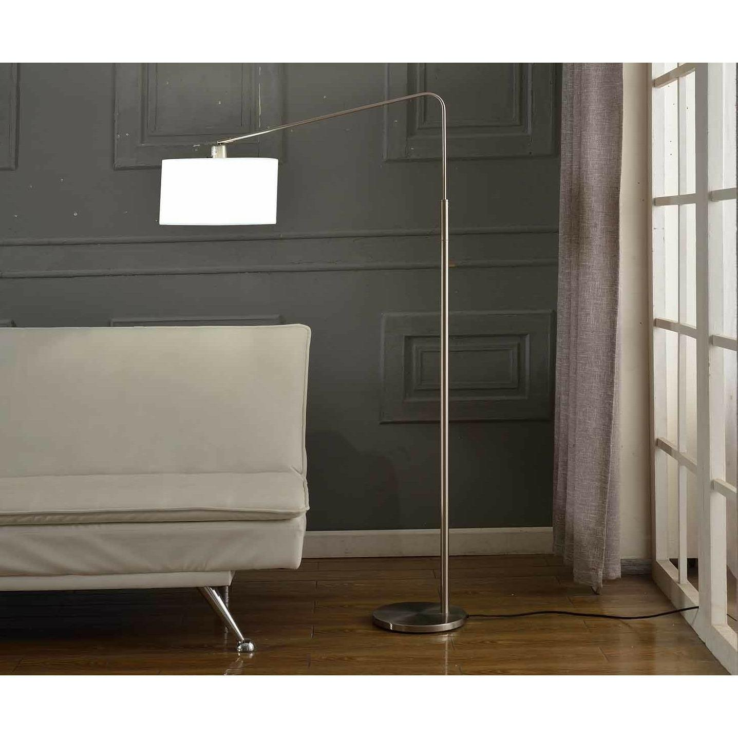 '80-degrees' 64-inch Medium Arch Brushed Steel Floor Lamp, W