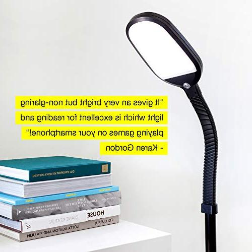 Brightech Reading Craft Pole Light & Gooseneck - Adjustable Task Lighting Great Sewing Rooms, Bedrooms Wood