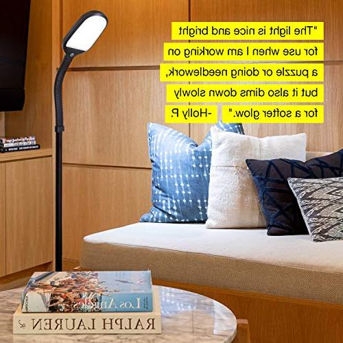 Brightech Litespan Reading Lamp - Standing Pole - Lighting Rooms, Bedrooms – Natural Wood