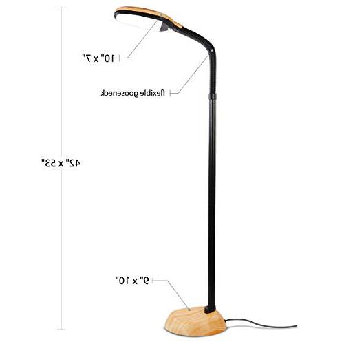 Brightech LED Reading Pole - Dimmable, Lighting Great in Rooms, – Wood
