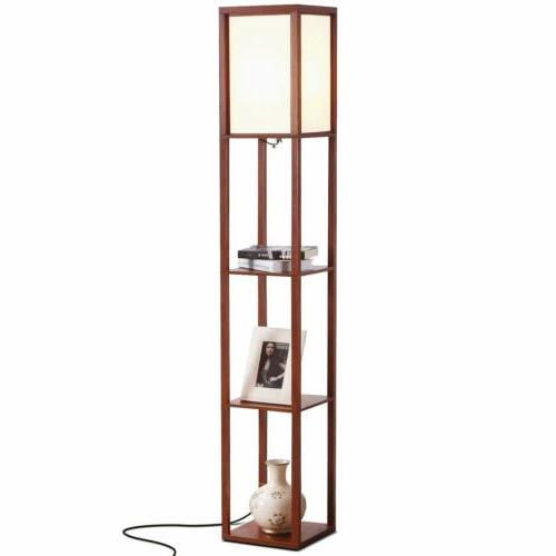 Art Deco Floor Lamp 3-Light Bronze Tiffany Amber Stained Gla