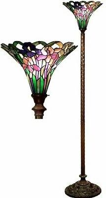 Antique Tiffany-style Iris Torchiere Lamp Tiffany Lamps Torc