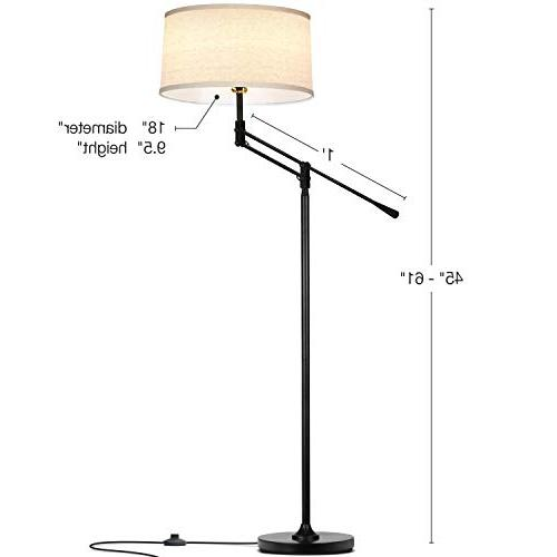 Brightech Ava LED Floor Lamp Rooms with Office Bedroom, Reading with Shade Black