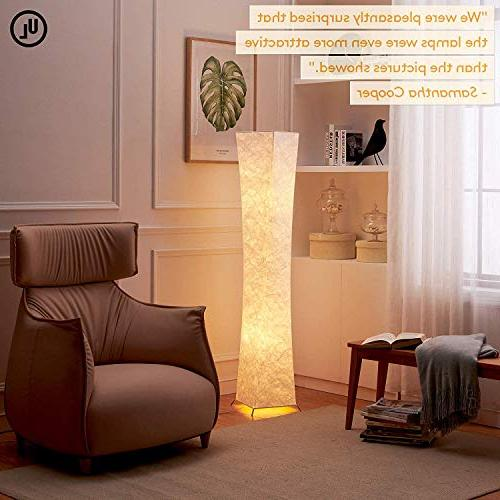 LEONC Design 61'' LED Lamp, Minimalist Modern Contemporary with Fabric & 2 Bulbs Floor for Living Room Bedroom Atmosphere