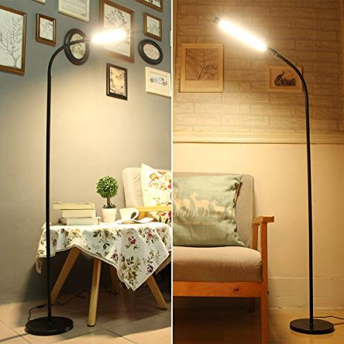 Byingo 12W Sensor Reading Floor Simplicity Style Color Modes Stepless Dimming - Long Gooseneck, Living Room, Bedroom
