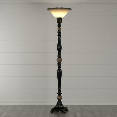 Floor Lamp Dark Rubbed Torchiere LED Decorative Glass Shade