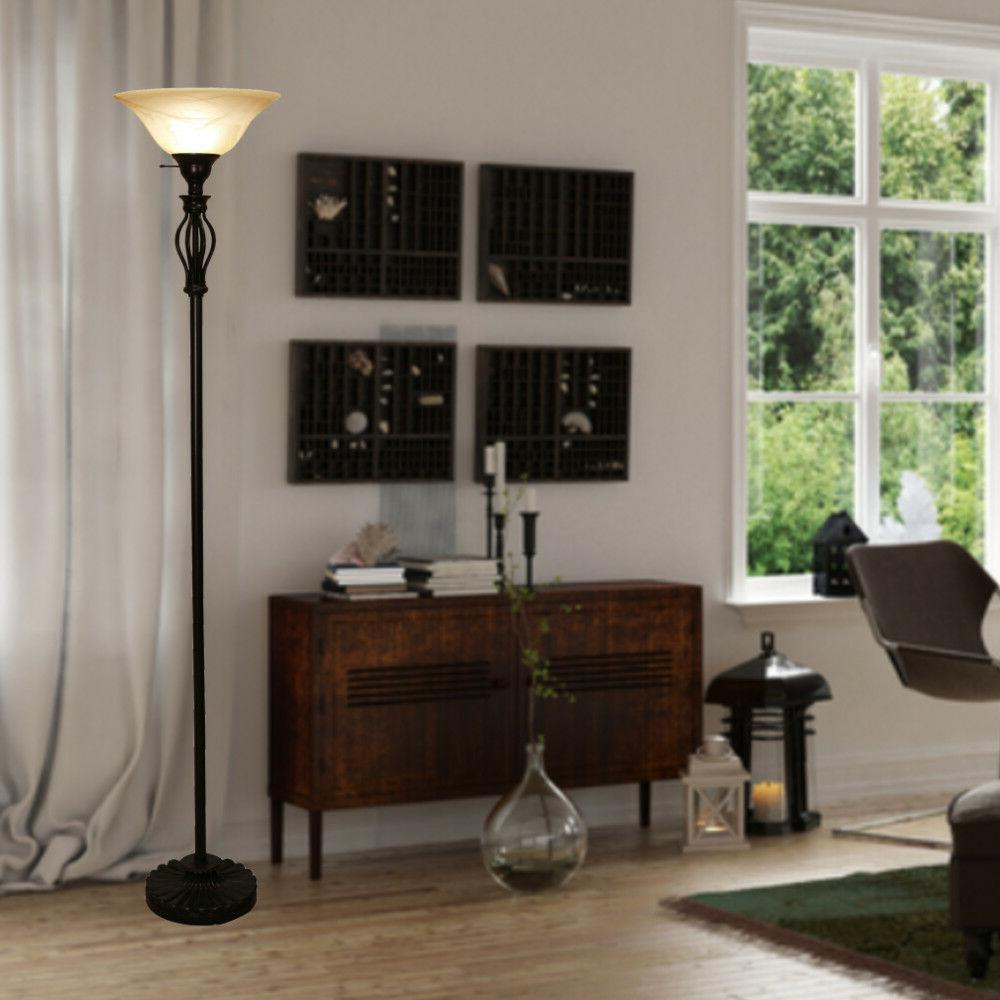Floor By Light Accents Tall Scrollwork Bronze Glass Shade