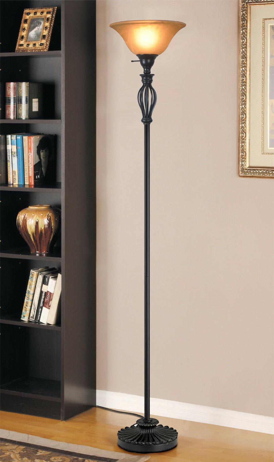Floor Lamp Accents Scrollwork Glass Shade