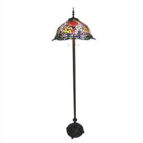floor lamp stained glass tiffany style floral