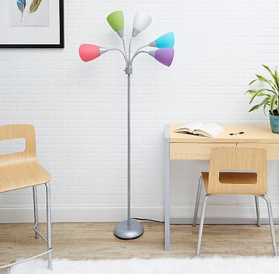 Floor Lamp Stand W/ 5 Multi Color Light Shade Adjustable Arm