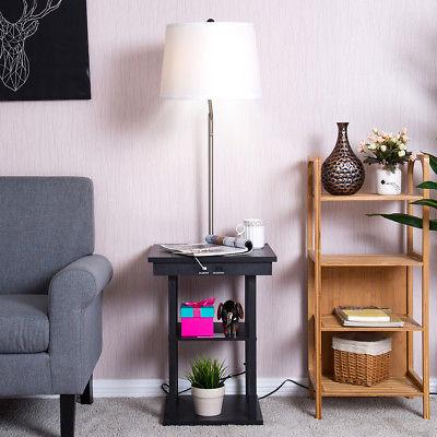 Floor Lamp Swing Arm Lamp In End Table Shade 2 USB Ports Room