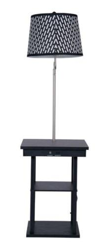 Floor Lamp Swing Arm Lamp Built In End Table w/ Shade 2 USB