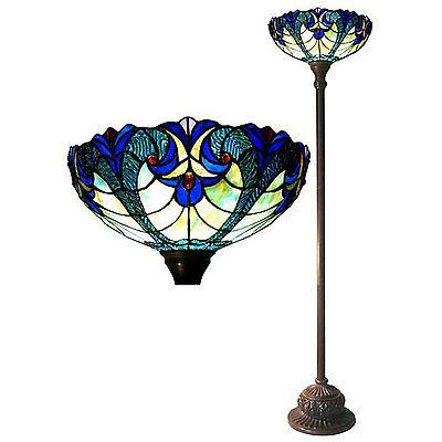 Floor Lamp Tiffany Style Red Jewels Green Stained Glass Shad