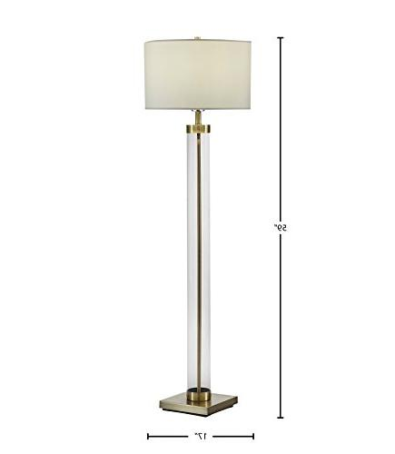 "Stone & Beam Glass Column Brass With Bulb, Linen Shade, 17.0"" 59.0"", Brass"