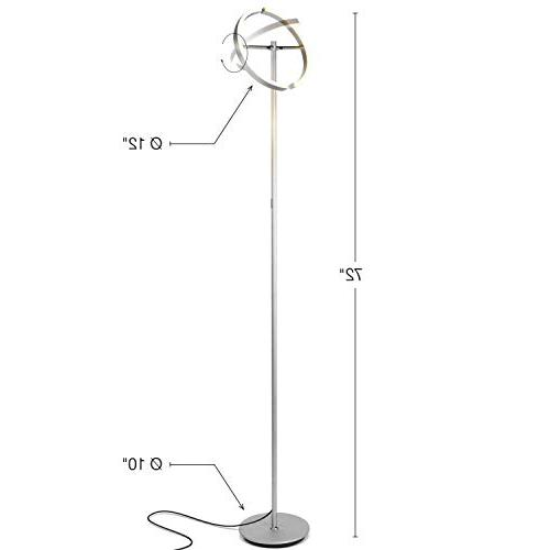 Brightech Split Modern Lamp - Tall, Standing Rooms & Offices - Bright, Dimmable for Reading Books In your Bedroom - Platinum Silver