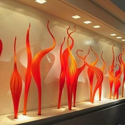 Hot <font><b>Lamps</b></font> Orange Murano Glass Garden Park Sculpture