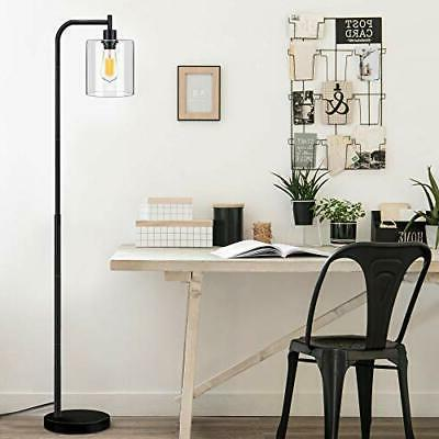 Industrial Lamp, Standing with Hanging Clear Shade,