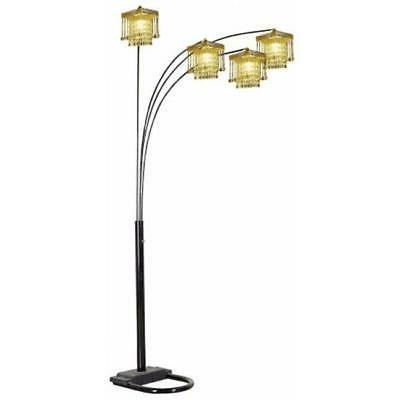 Ore International 4 Arm Arch Floor Lamp - Gold Shade