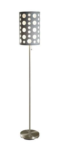 ORE International 9300F-GY-WH Modern Retro Floor Lamp, Grey/