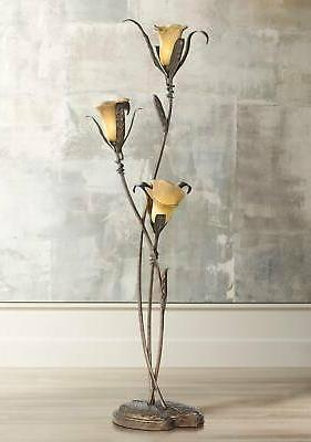 Franklin Iron Works Intertwined Lilies Floor Lamp