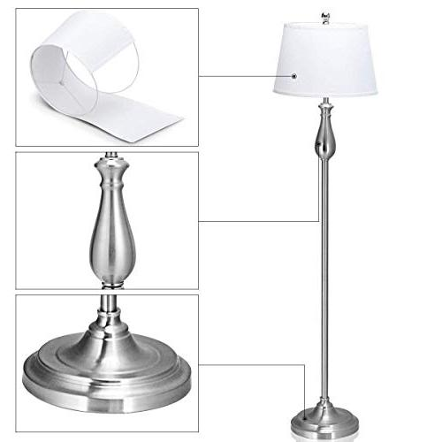 Tangkula 3-Piece Modern Home Bedroom Finish Floor Lamp and Lamps Set with Soft Pleated White