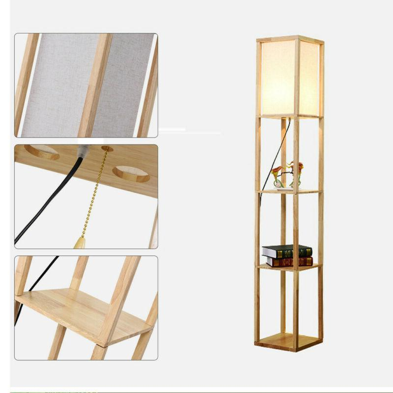 Modern Light Floor Lamp with Shelves for Living New