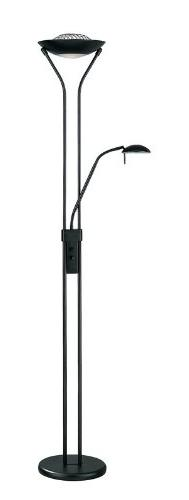 Lite Source LS-80984BLK Floor Lamp with Frosted Glass Shades
