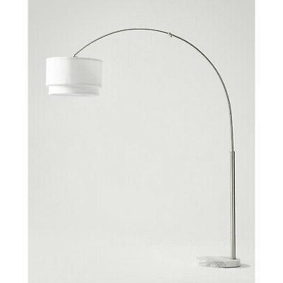 Brightech Mason LED Arc Floor Lamp with Marble Base - Living