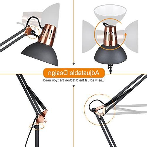 LEPOWER Metal Architect Arm Standing Lamp with Heavy Metal Based, Head Light Office