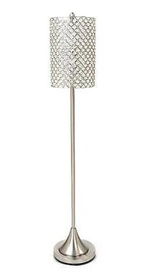 Metal Floor Lamp w- Crystal Bead Shade