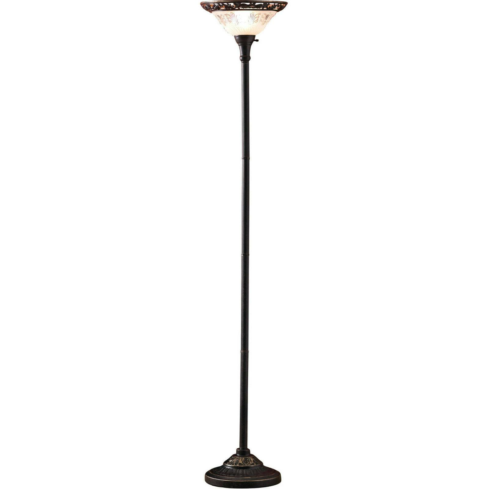 """Victorian Floor Lamp - 70"""", Etched Glass Shade, Metal Base,"""