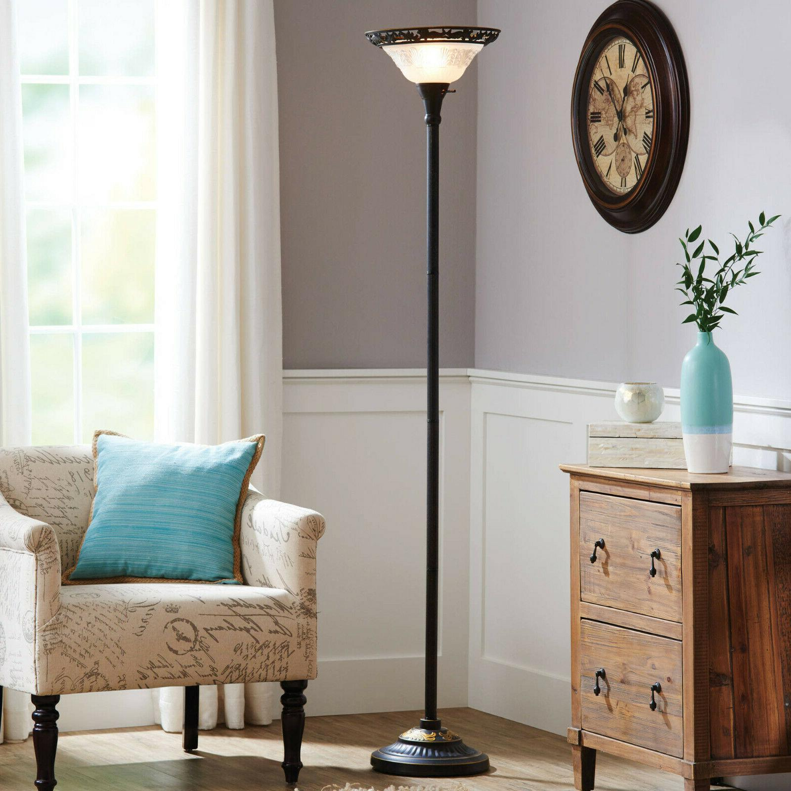 """MICA SHADE 70"""" TALL FLOOR LAMP CONTEMPORARY VINTAGE BRONZE H"""