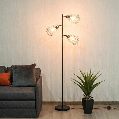 Modern 3-Light Tree Floor Lamp Adjustable Cage-shade with Fo