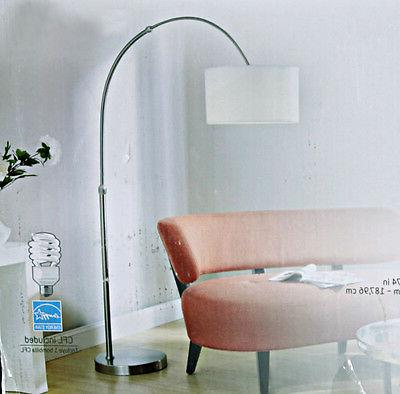 "Modern 79"" Adjustable Arch Lamp Brushed Nickel"