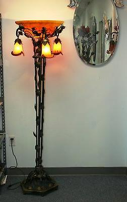 modern art deco wrought iron floor lamp