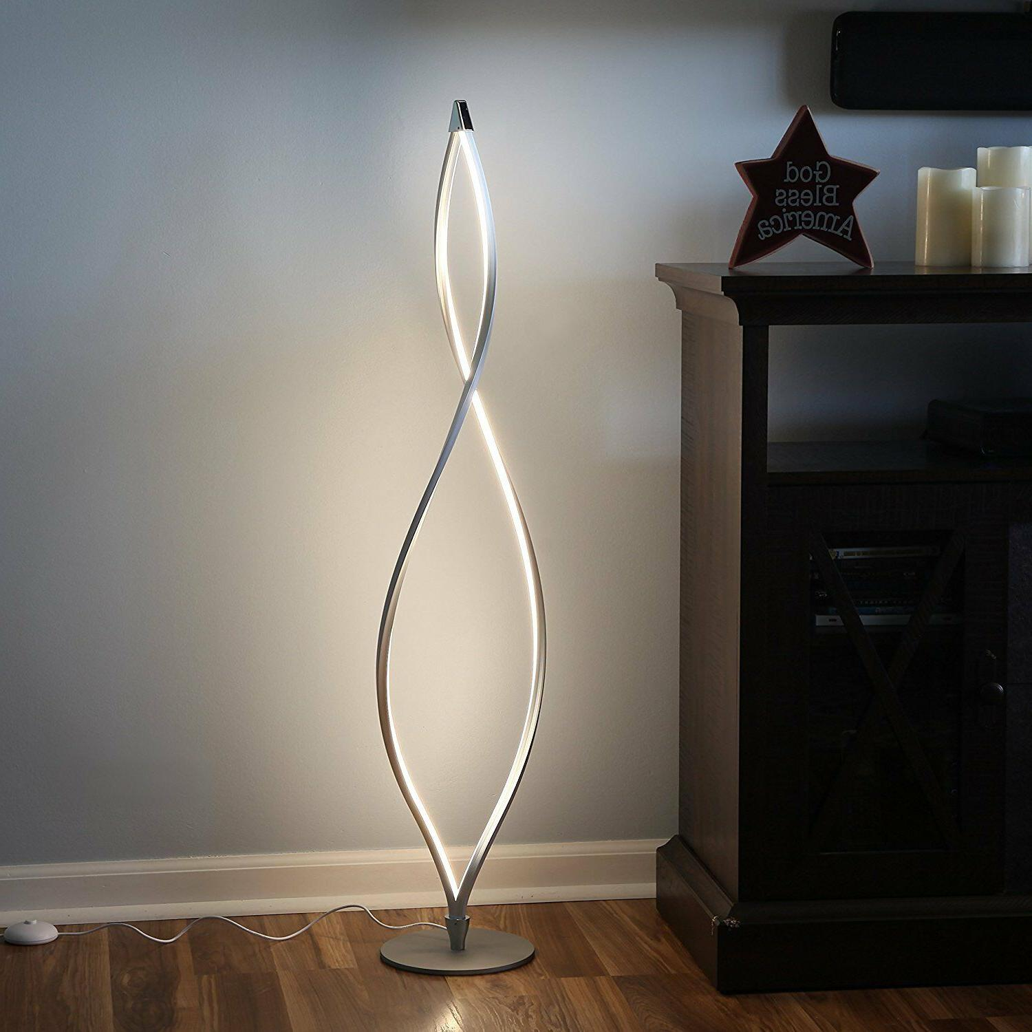 Modern LED Floor Lamp Unique Twisted Lighting Dimmable Conte