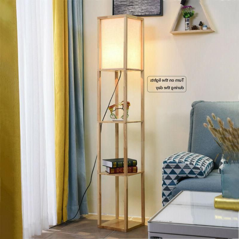 Floor Lamp with Storage Shelves Living Room New