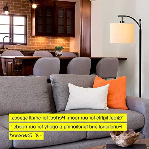 Brightech Montage - Bedroom & Floor - Industrial with Hanging Shade - Tall Pole Office LED Bulb- Black
