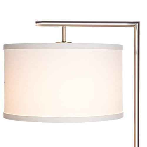 Brightech Modern LED Floor Lamp - Room with Hanging Shade - Tall Downlight Bedrooms, Family Rooms, Offices – with - Satin Nickel