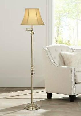 Montebello Collection Antique Brass Swing Arm Floor Lamp