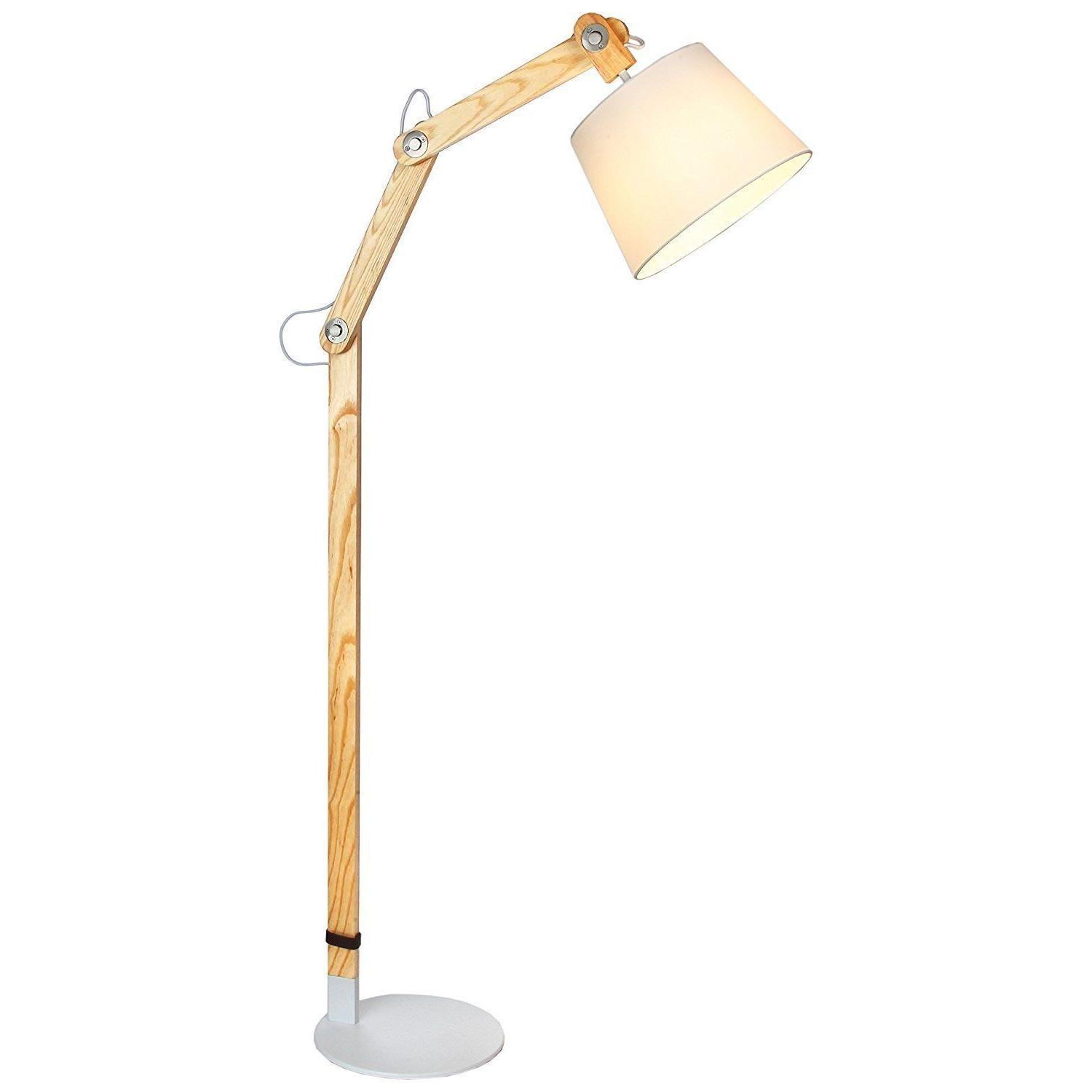 Brightech Oliver LED Floor Lamp - Contemporary Natural Ash S