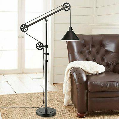 pulley floor lamp bronze finish industrial style