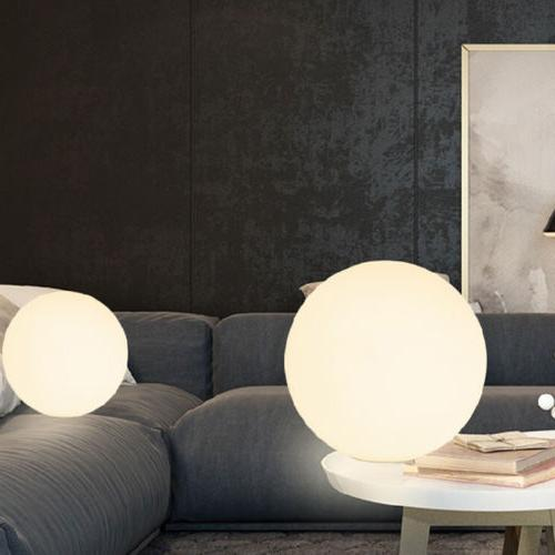 Simple Globe Glass Shade Light Round Base Table Lamp