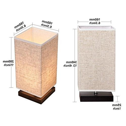 ZEEFO Simple Lamp Bedside Lamp Fabric Shade and Solid Wood for Living Baby College Bookcase