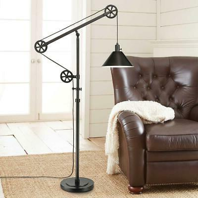 Simplistic Adjustable Shade Bronze Finish Pulley Floor