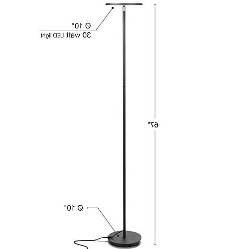 Brightech Modern LED Torchiere & Bedrooms Adjustable Warm to - Pole, Standing Office Bright, Minimalist & Contemporary - Black