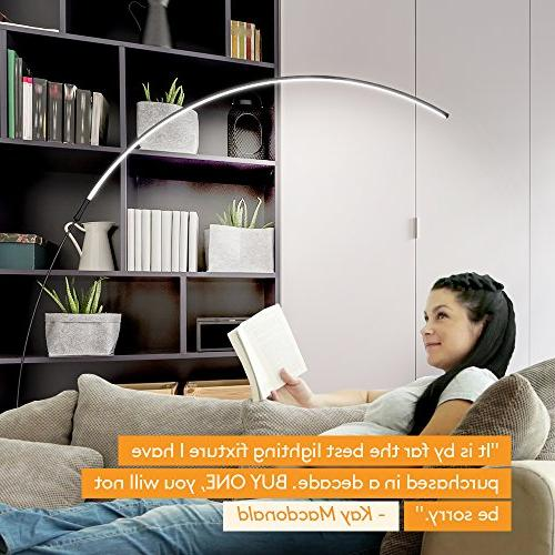 Brightech Floor Lamp - Over The Room White Bedrooms Dimmable Minimalist Pole –